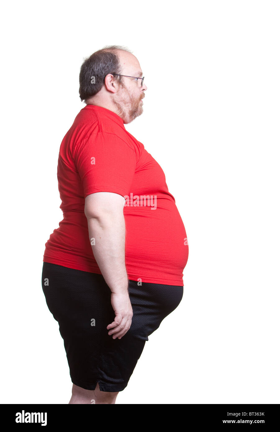 Obese man at 400lbs - right - Stock Image