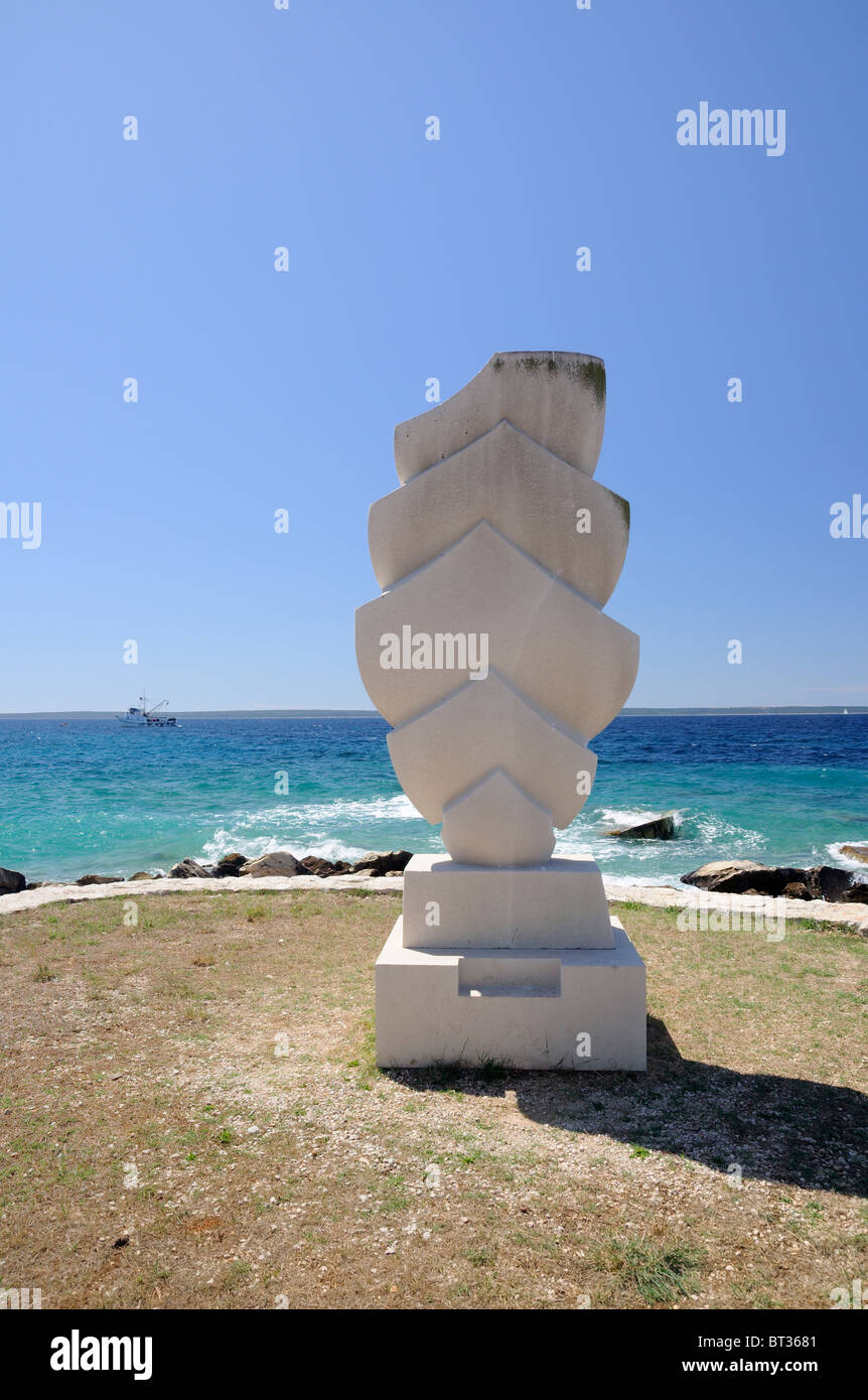 Public sculpture 'The Sails'  on seashore of Island Silba, Croatia - Stock Image