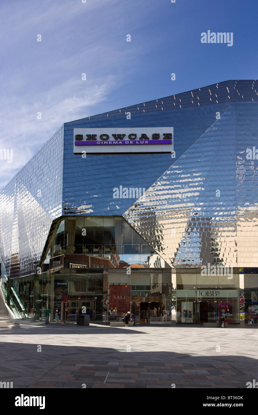 Polished stainless steel tiled cladding on the Showcase Cinema above shops in the Highcross Shopping Centre in Leicester. - Stock Image