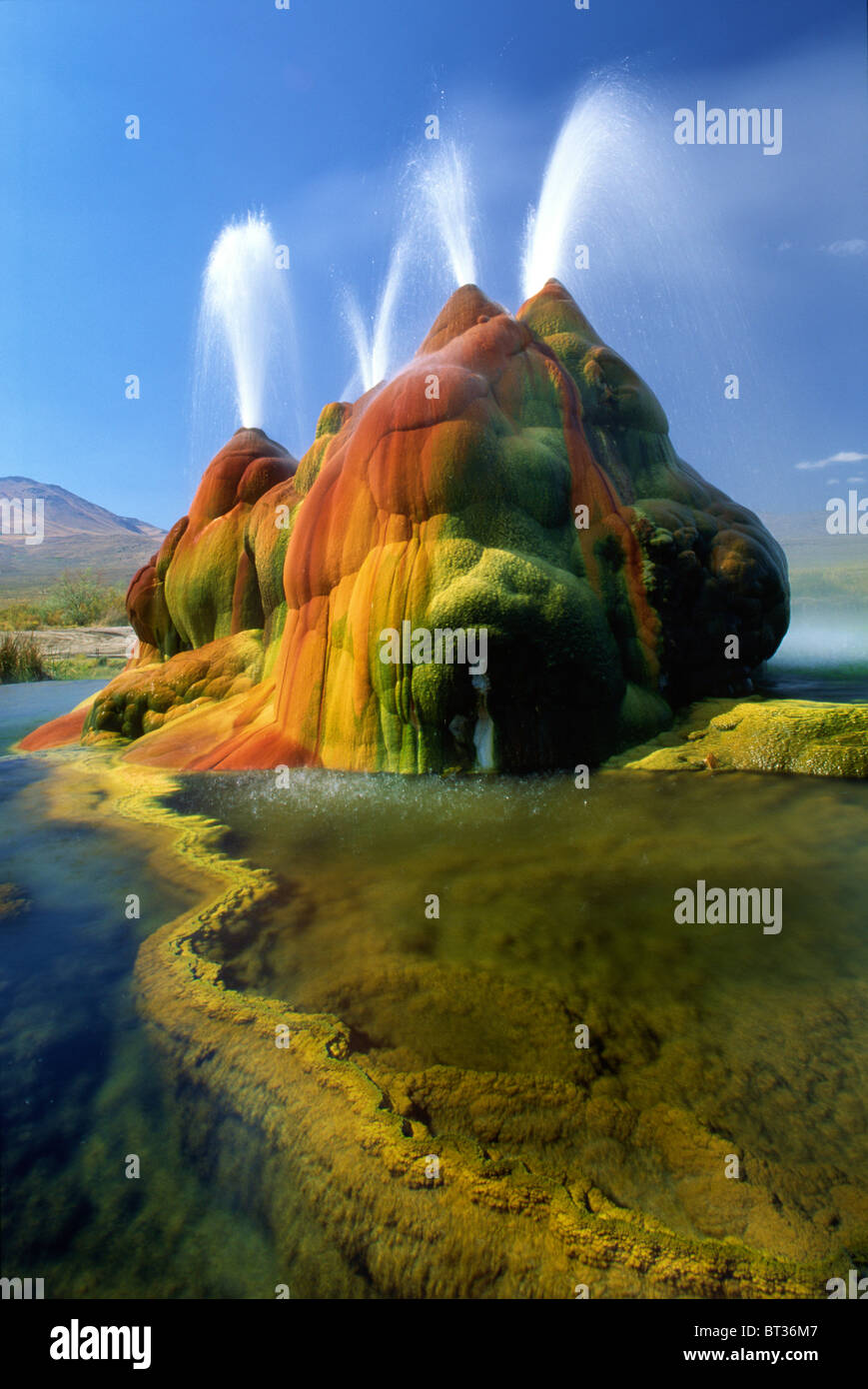 The continuous Fly Geyser in the Black Rock Desert in Nevada - Stock Image