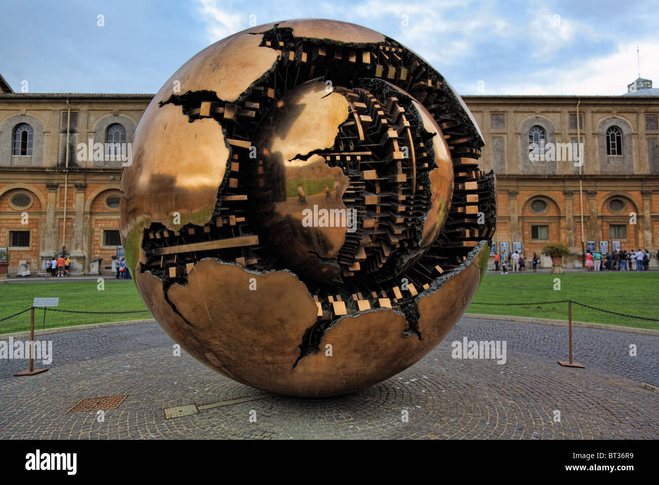 'Sphere Within Sphere' sculpture by Arnaldo Pomodoro at the Vatican museums (Italian: Musei Vaticani) - Stock Image