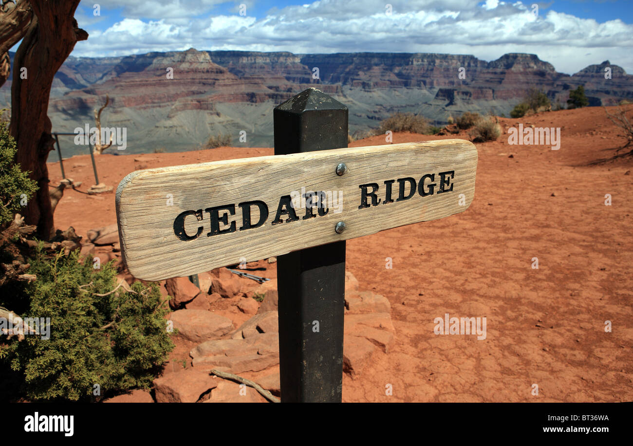Cedar Ridge sign on the Kaibab Trail in the Grand Canyon - Stock Image