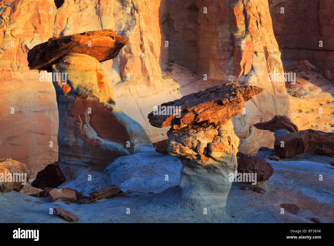 Sandstone hoodoos at Studhorse Point in the Glen Canyon Nation Recreation Area - Stock Image