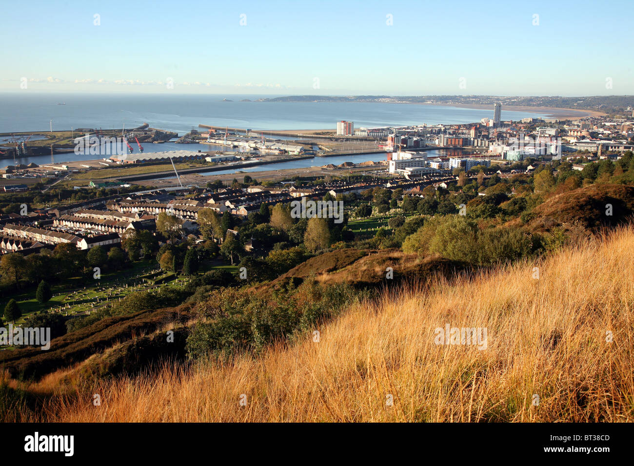Swansea Wales UK from Kilvey Hill, Autumn 2010 - Stock Image
