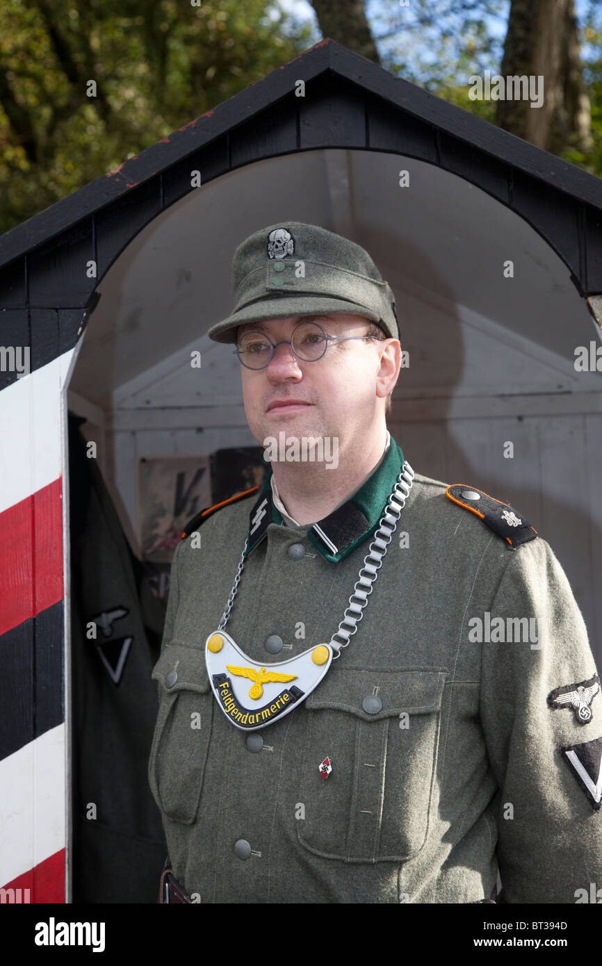 Costumed Re-enactor _ WW 2 German army Soldier in Uniform at the Pickering Wartime Weekend, October, 2010, Yorkshire, - Stock Image