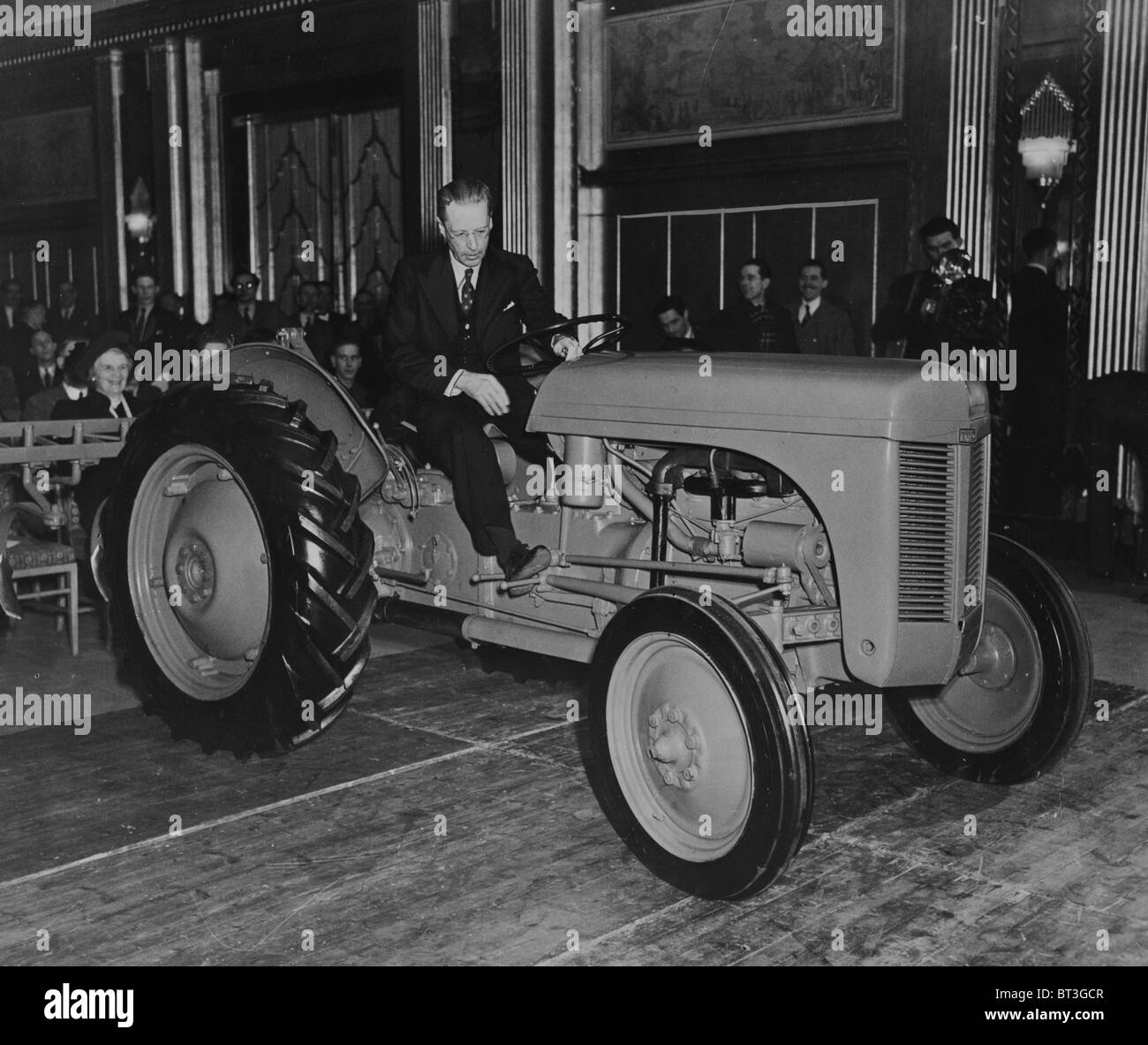 Farming came to Mayfair when Mr Harry Ferguson demonstrated his tractor in a luxurious hotel ballroom. In 1948 - Stock Image