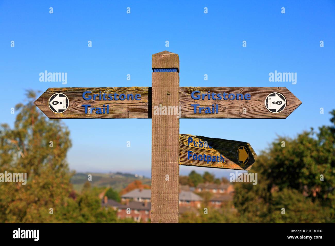 Gritstone Trail waymarker, Disley, Peak District National Park, Cheshire, England, UK. - Stock Image