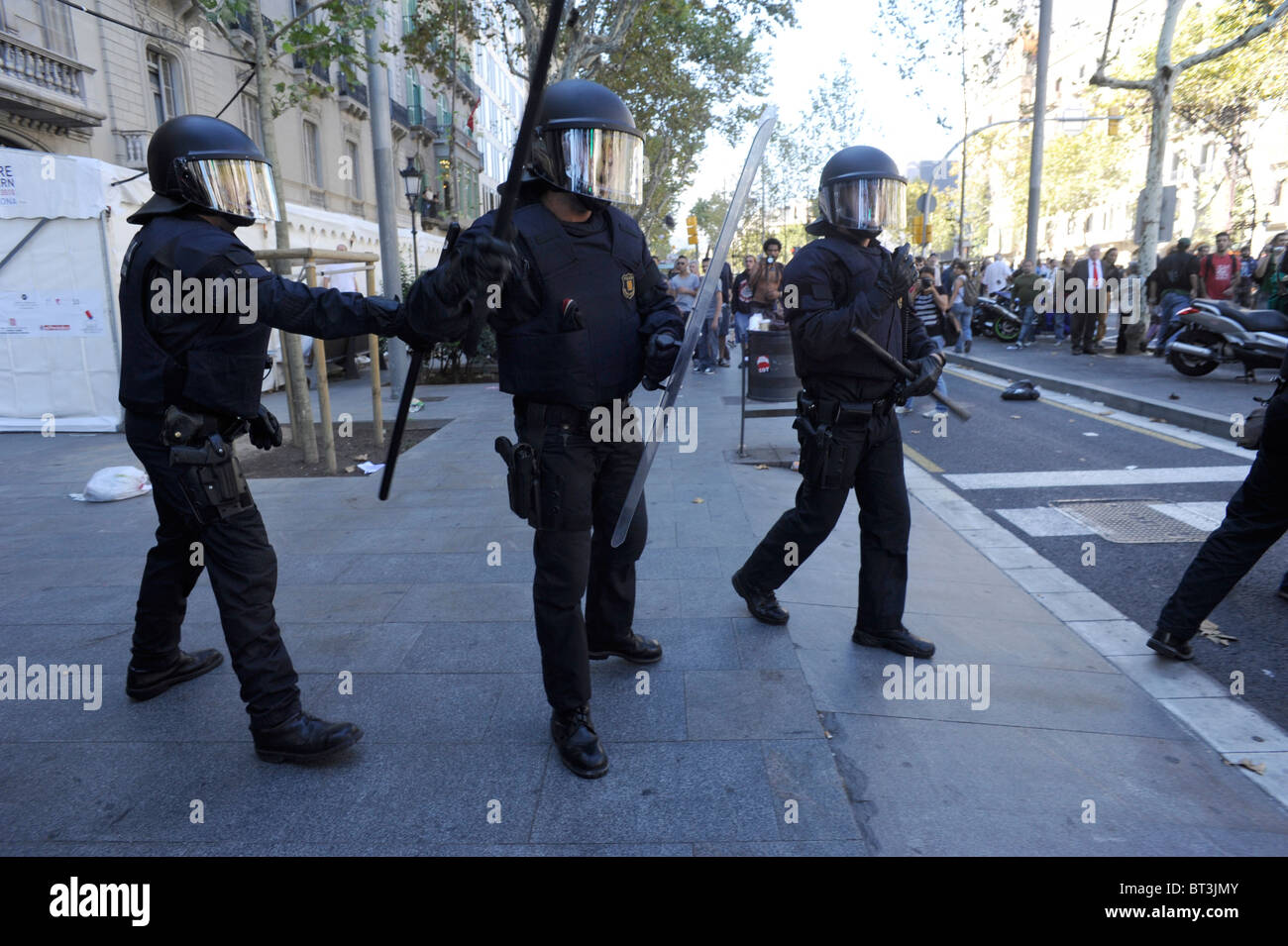 Anti Riot police in the clashes at the city center  of Barcelona during the general strike . Spain. - Stock Image