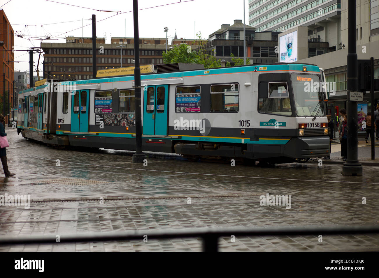 Tram terminal in  Piccadilly Manchester - Stock Image