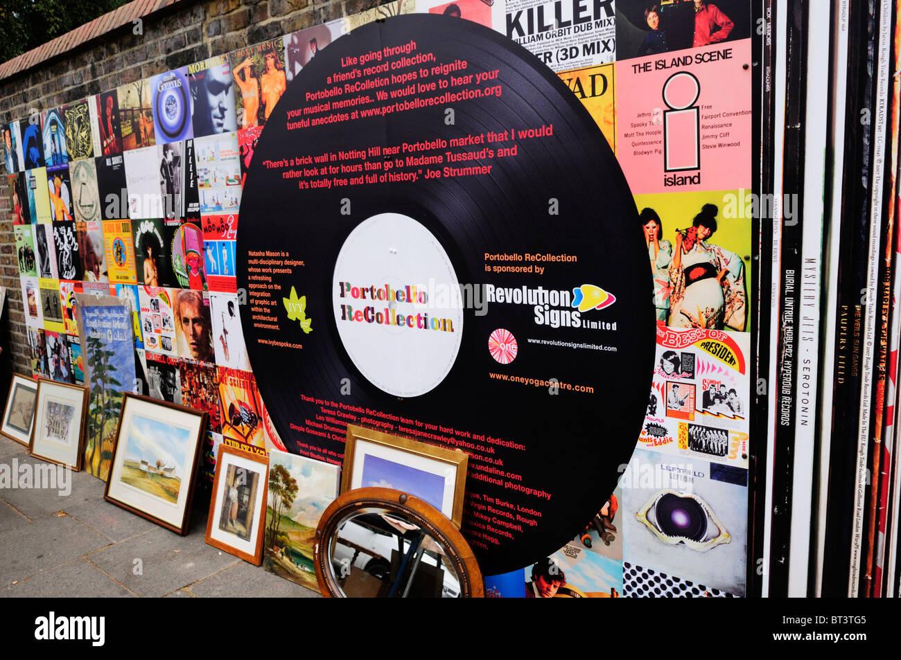 Portobello ReCollection wall decorated as Vinyl Record Album Covers, Portobello Road, Notting Hill, London, England, - Stock Image