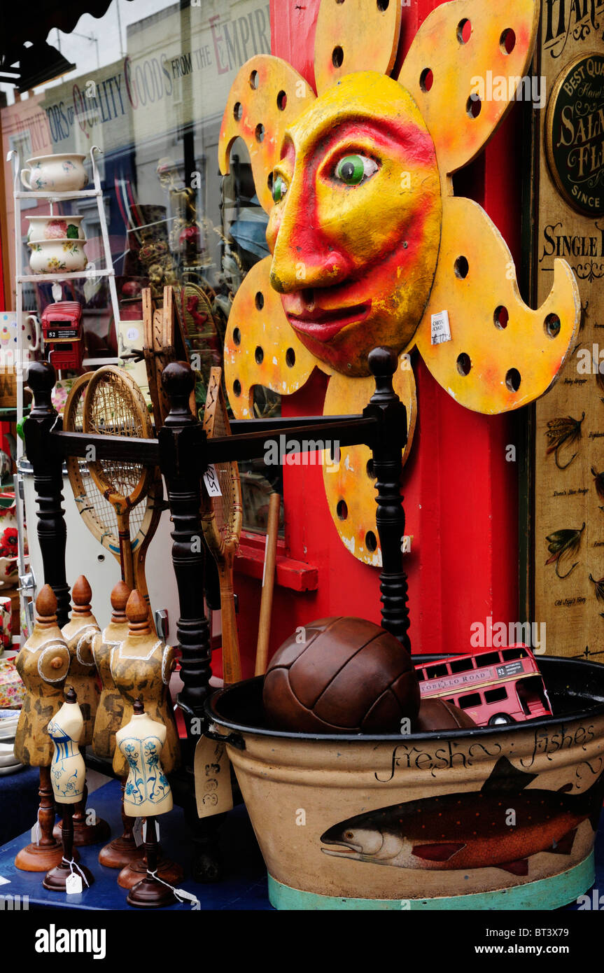 Antiques display at Alice's Shop, Portobello Road, Notting Hill, London, England, UK - Stock Image