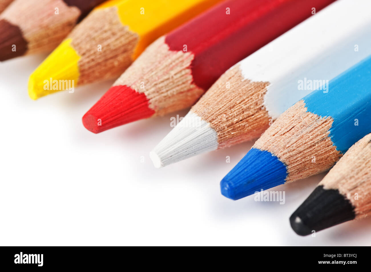 color pencils isolated on white - Stock Image