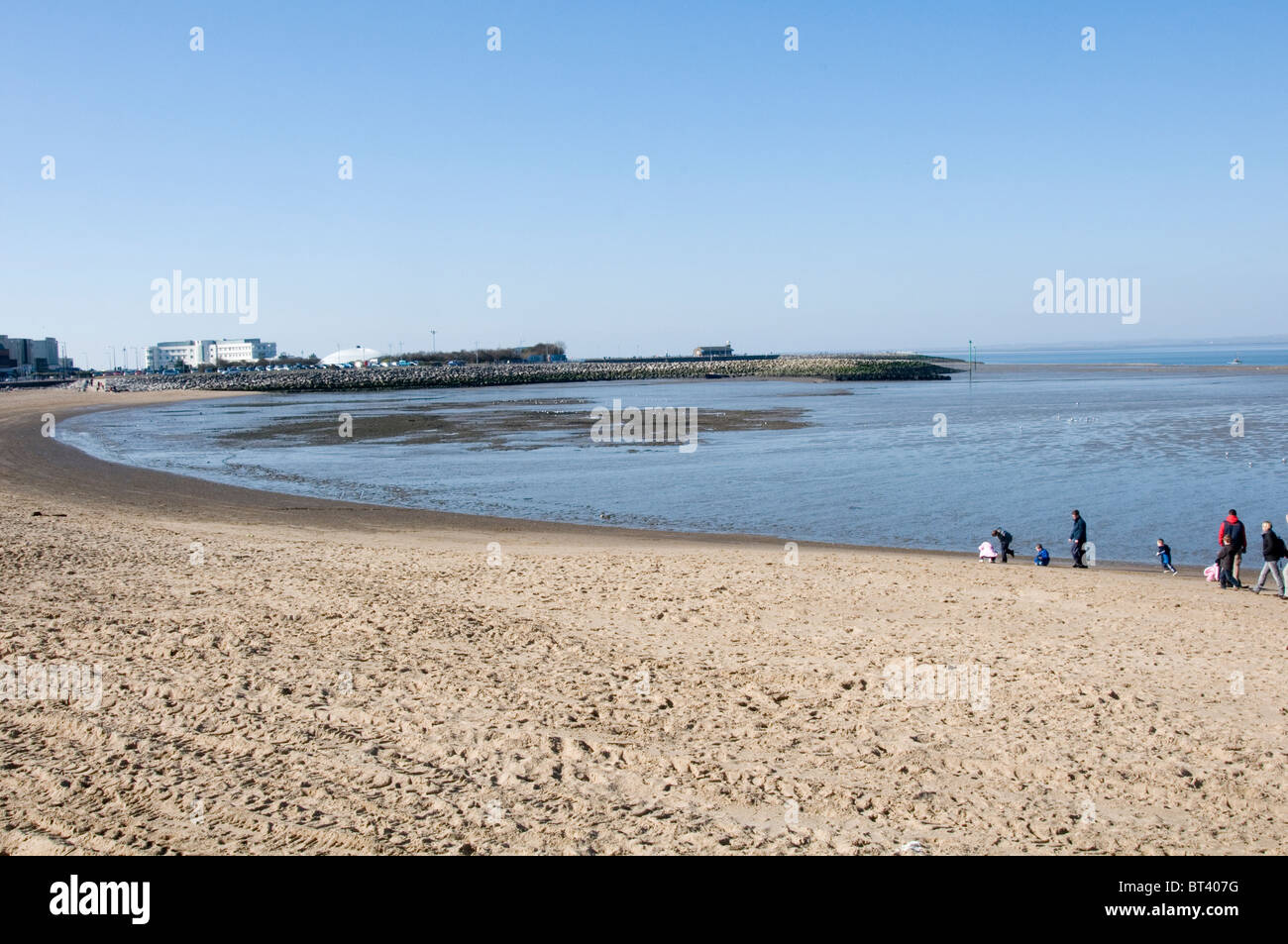 morecombe beach sand sandy sands Lancashire uk seaside sea side town towns - Stock Image