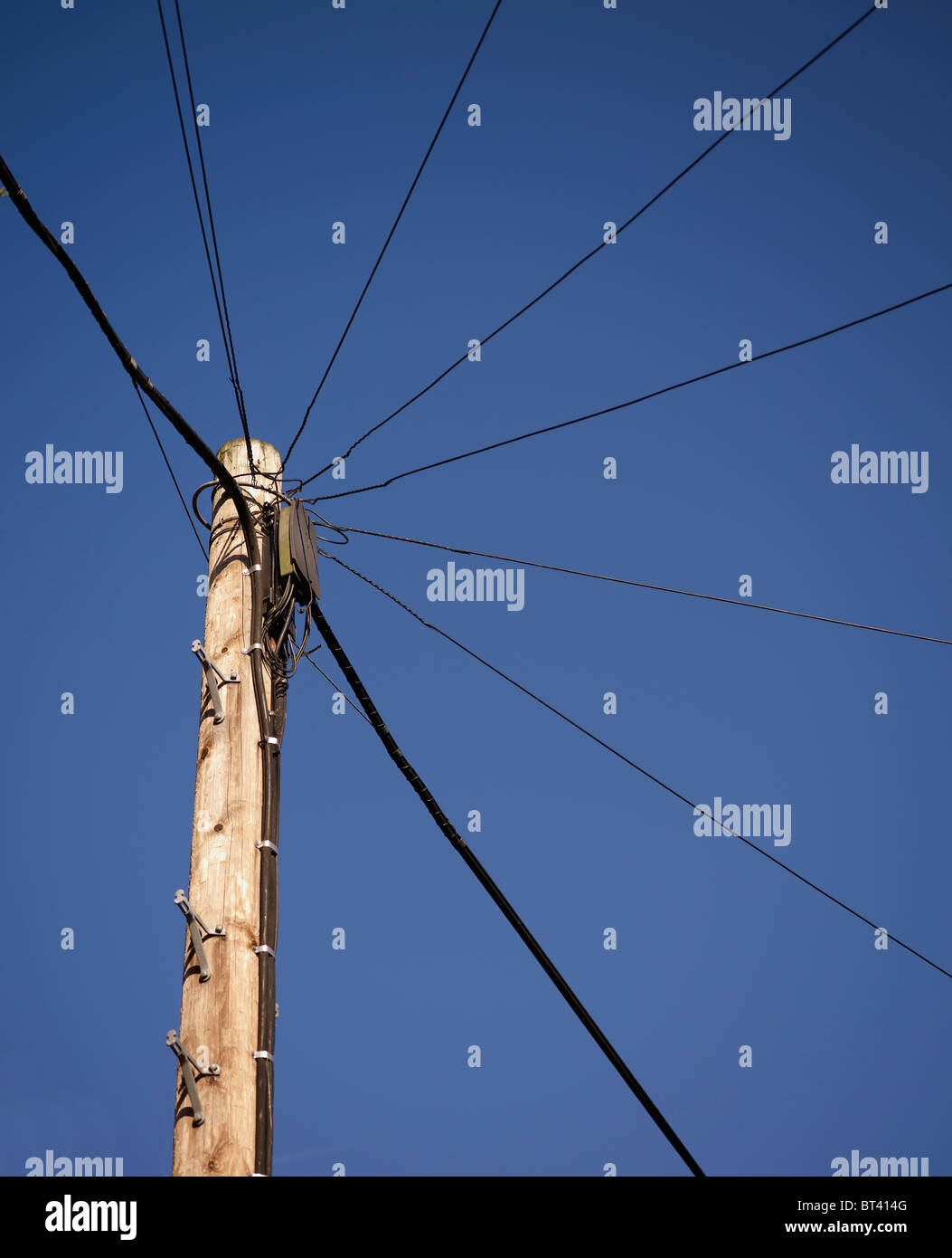 British Telecom Telegraph Pole Used For Overhead Telephone