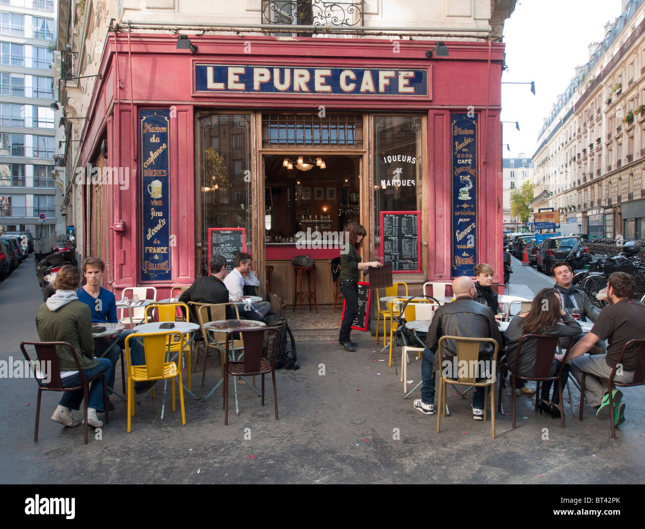 Typical cafe on street corner in Marais district of Paris France - Stock Image