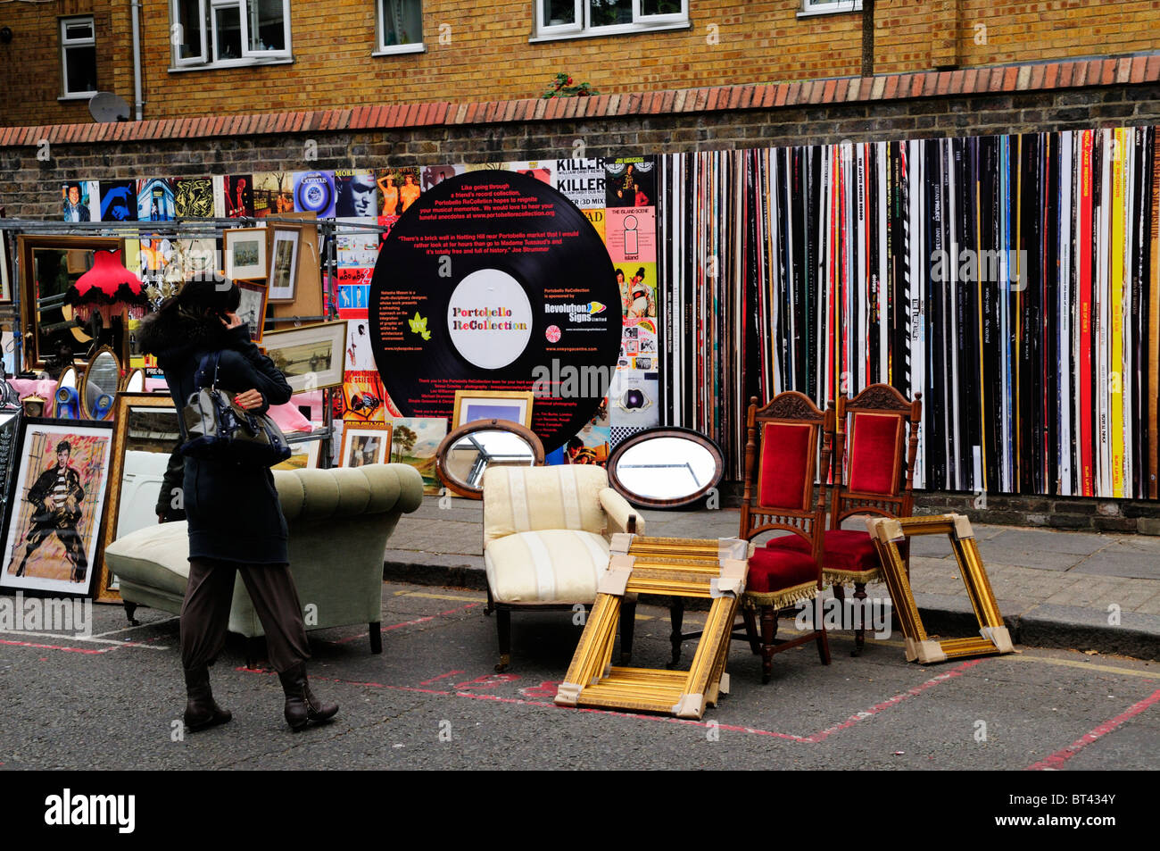 Portobello ReCollection wall decorated as LP Vinyl Record Album Covers, Portobello Road, Notting Hill, London, England, - Stock Image