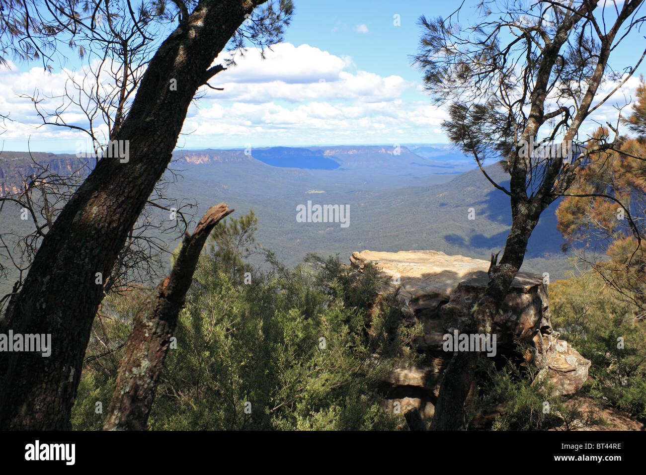 Jamison Valley seen from Sublime Point Lookout, Blue Mountains National Park, New South Wales, eastern Australia, - Stock Image