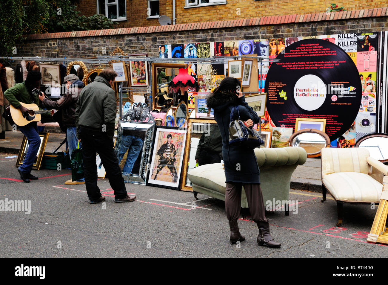 Portobello ReCollection Wall decorated as LP  Vinyl Record Album Covers, Portobello Road, Notting Hill, London, - Stock Image