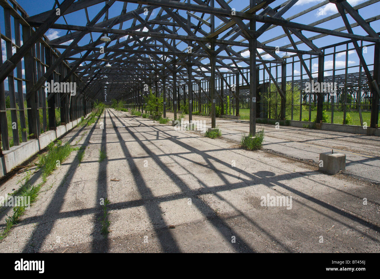 Remnants of a munitions plant, Midewin National Tallgrass Prairie, Illinois, United States - Stock Image