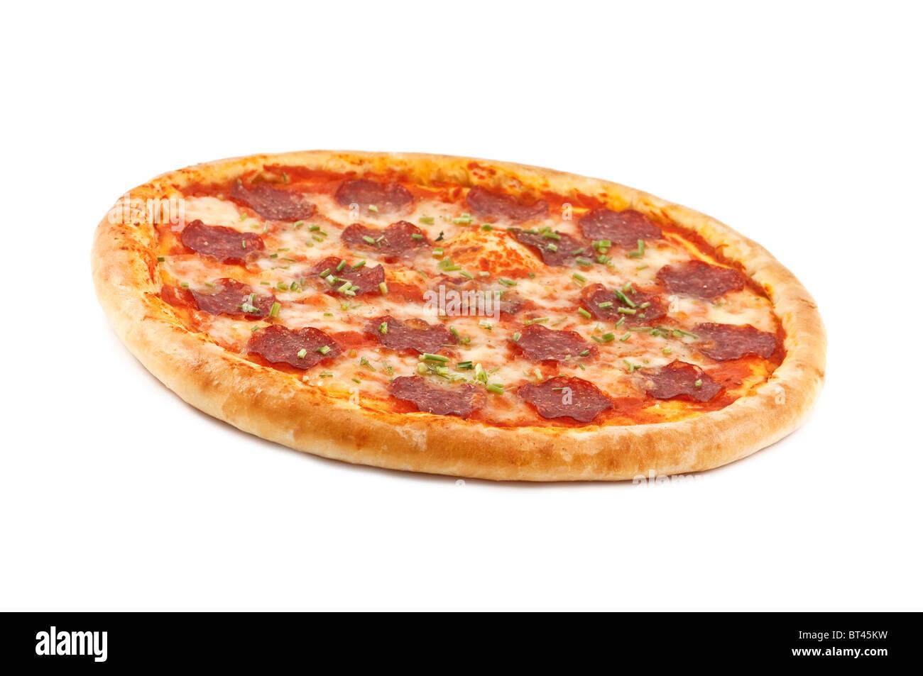 salami pizza isolated on white - Stock Image