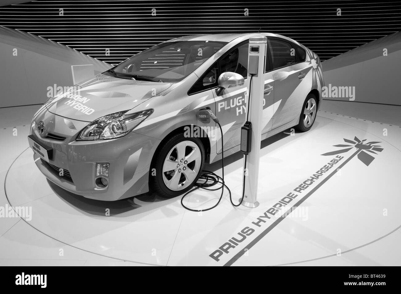 Toyota Prius plugin hybrid car at Paris Motor Show 2010 - Stock Image