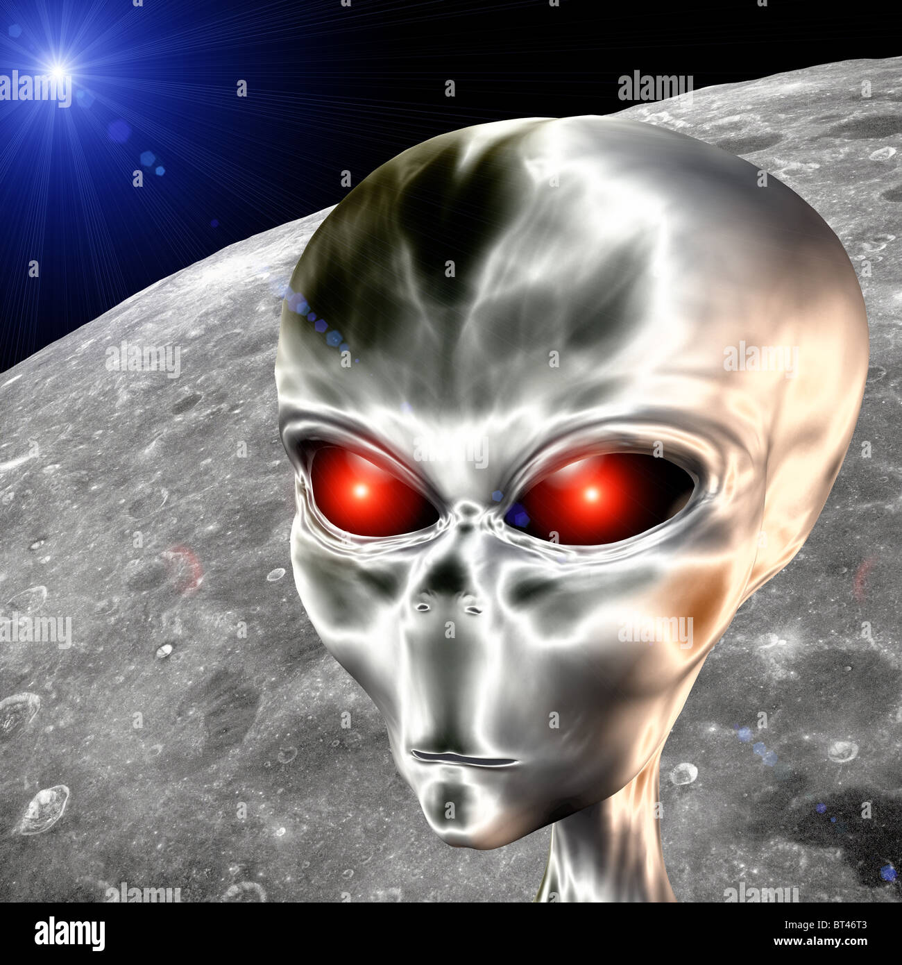 futuristic 3D computer generated bionic male alien on moon surface - Stock Image