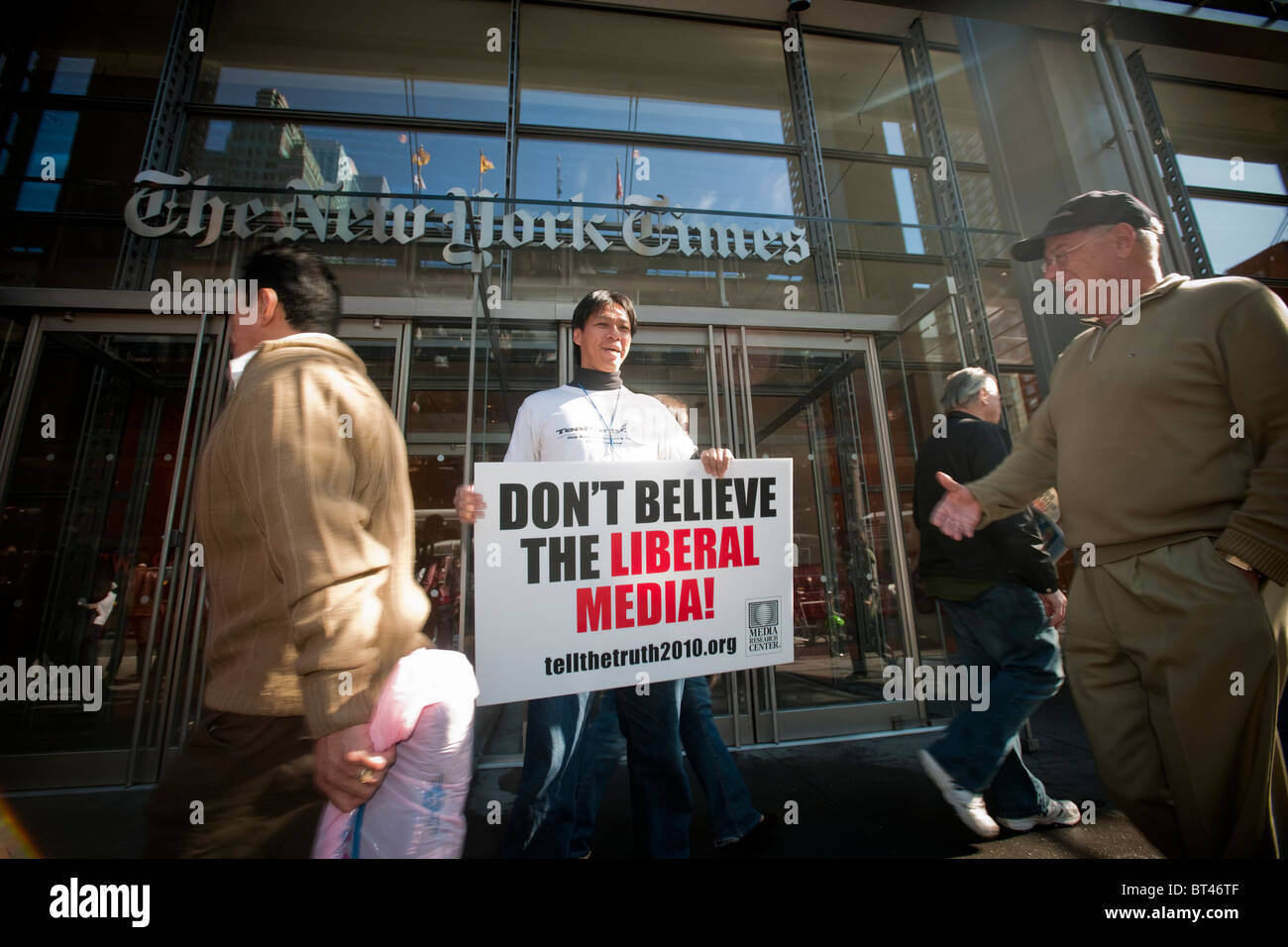 Members of Tea Party 365 and their supporters rally in front of the New York Times building in New York Stock Photo