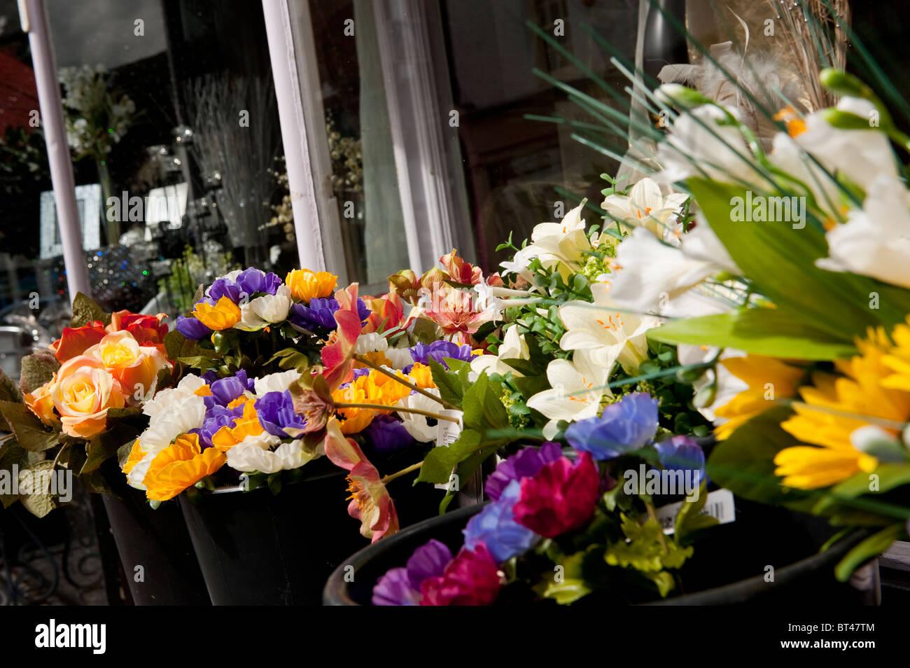 Beautiful display of silk flowers outside a florist shop in a town beautiful display of silk flowers outside a florist shop in a town in england mightylinksfo