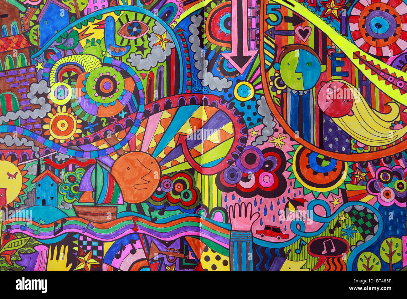 Psychedelic colouring in pictures by children - Stock Image