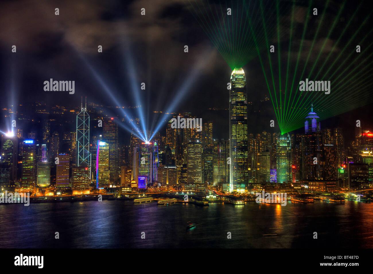 This symphony of lights, multimedia show, combining lights, music and laser light on  Hong Kong Island.hong kong - Stock Image
