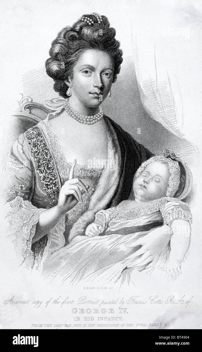 A portrait of Queen Charlotte, wife of King George III, with her first son, the future Prince Regent, later George - Stock Image