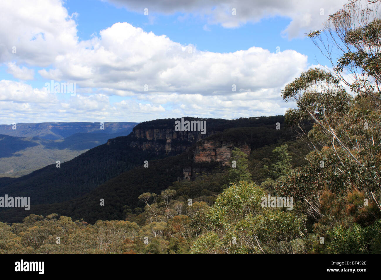 Sublime Point seen from Jamison Lookout, Blue Mountains National Park, New South Wales, eastern Australia, Australasia - Stock Image