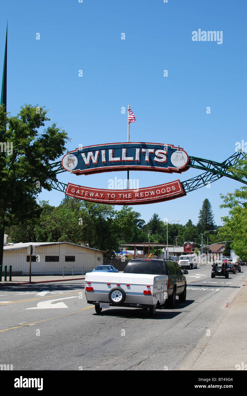 Willits: Gateway to the Redwoods of California - Stock Image