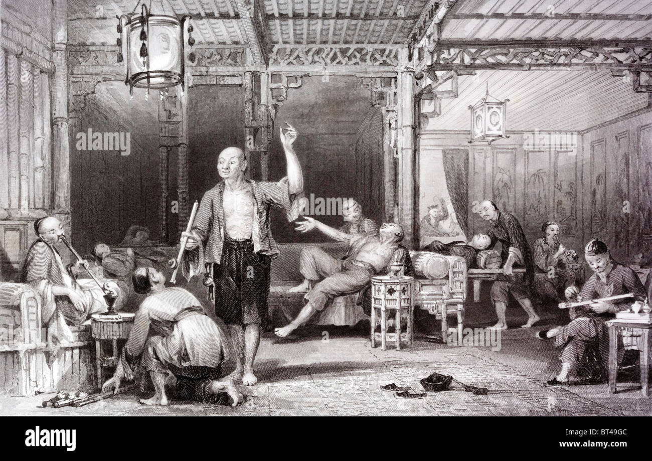 Engraving of a painting by the 19th century artist and architect Thomas Allom of a Chinese opium den. - Stock Image