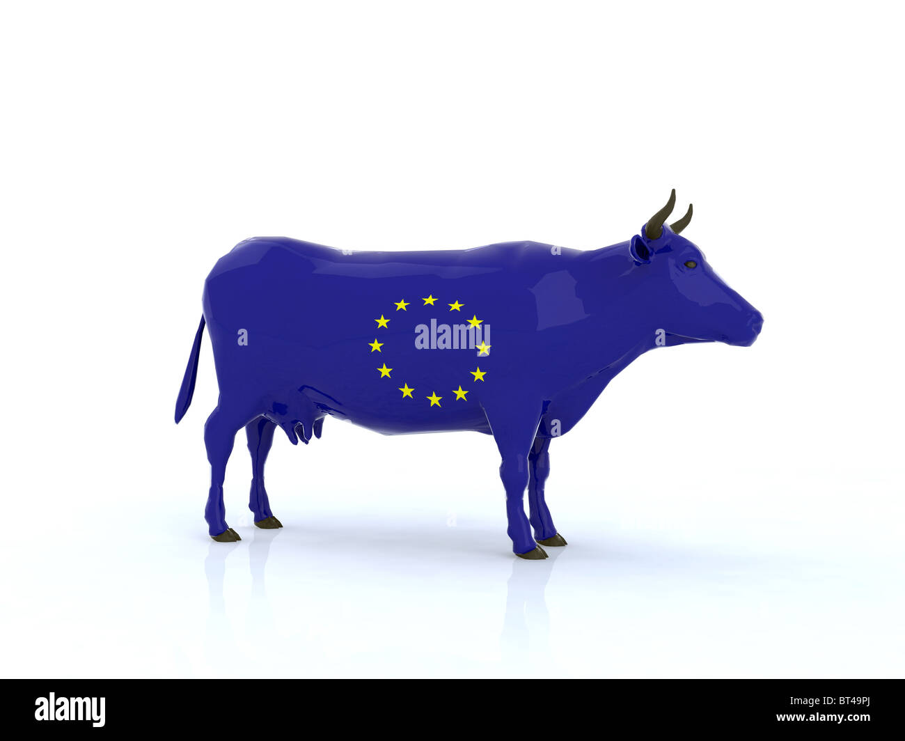 euro cow 3d illustration - Stock Image
