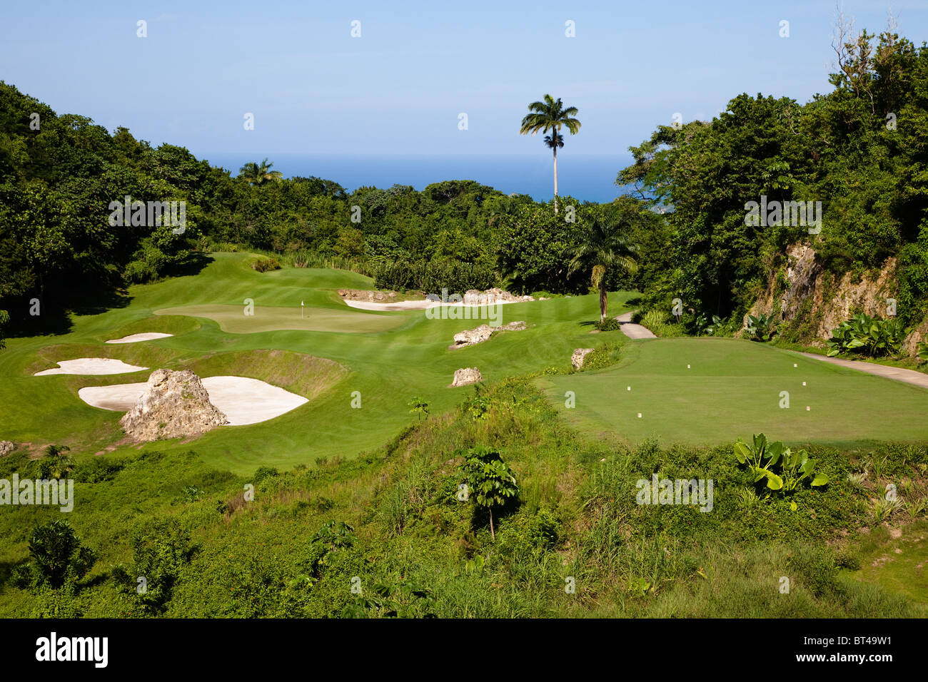 Apes Hill Golf Club signature hole, par 3 12th, Barbados, west Indies - Stock Image