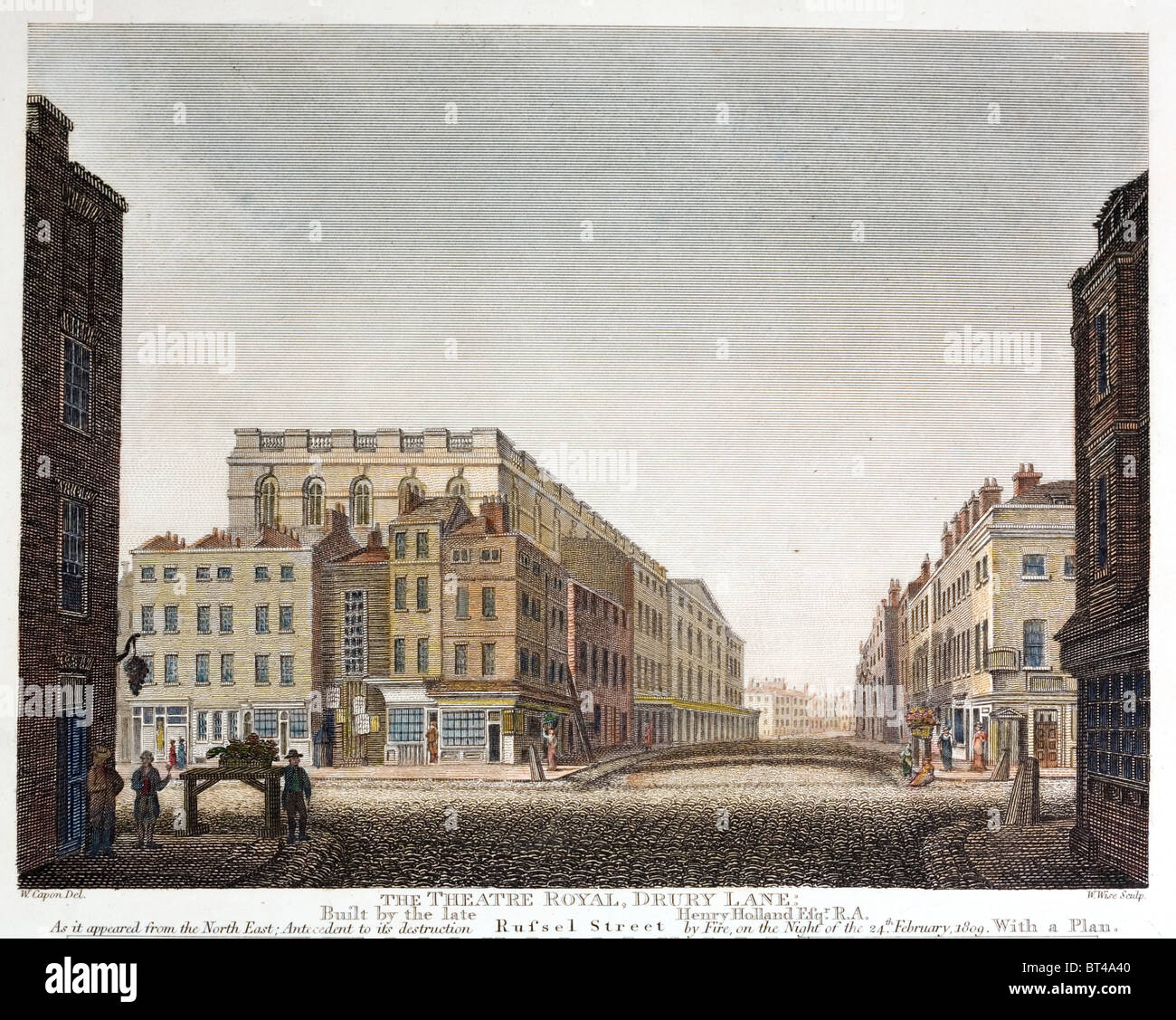 The third Theatre Royal Drury Lane of 1794. It was destroyed in a fire in 1809. - Stock Image