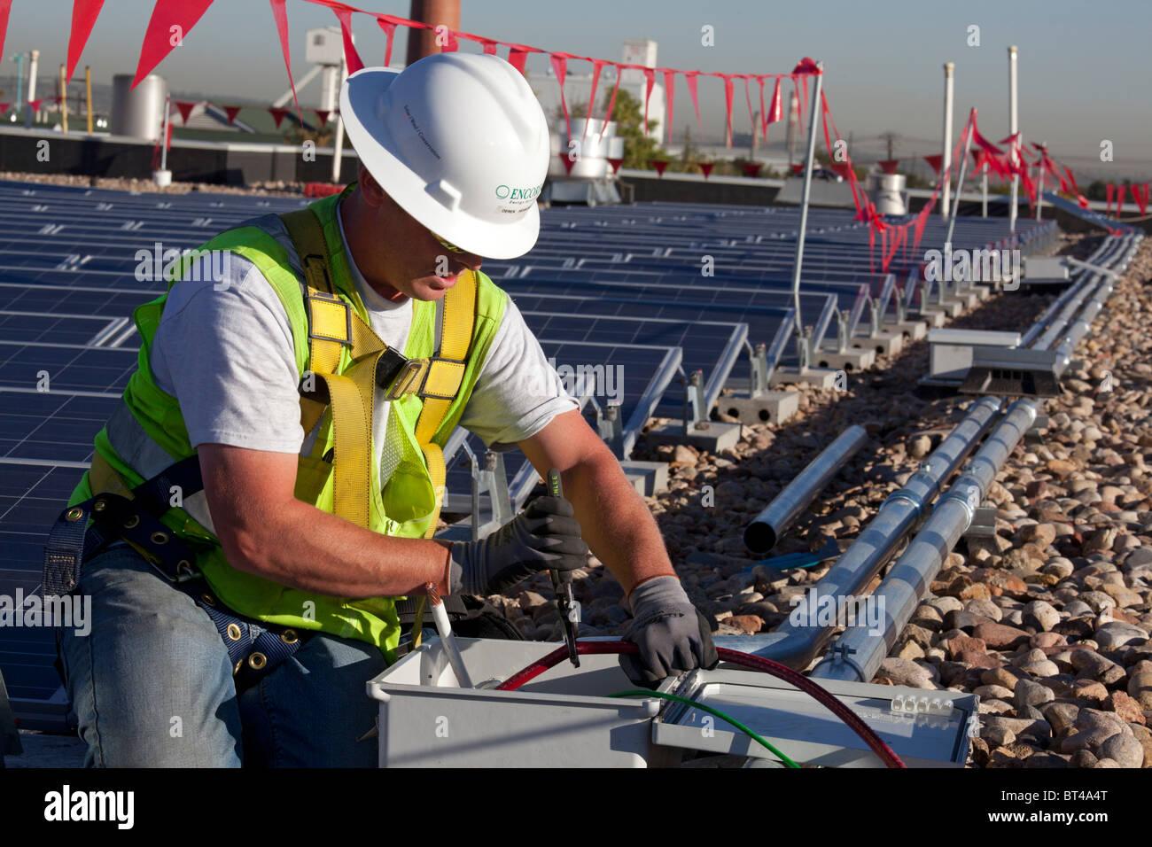 Photovoltaic Panel Wiring Diagram System Denver Colorado Workers Install For Solar Rh Alamy Com Works