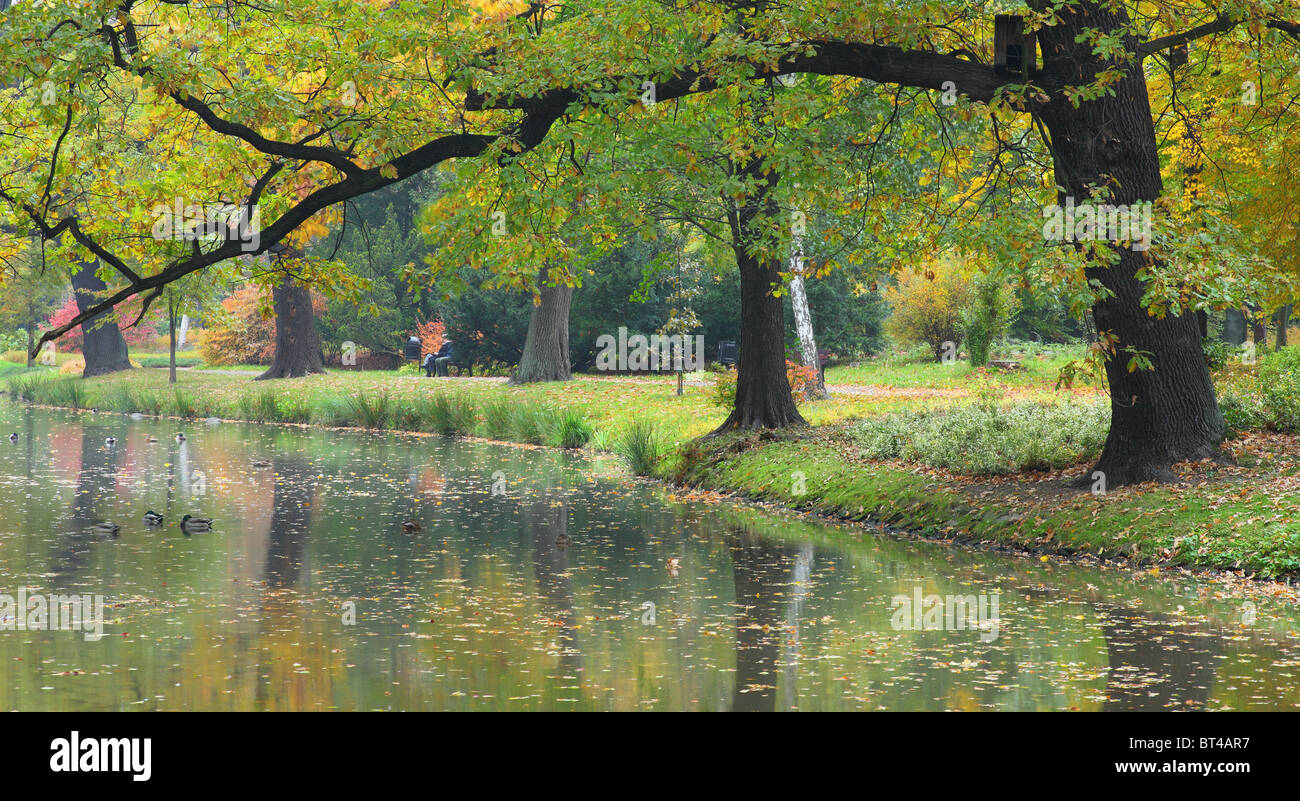 Quiet still water and autumn colors - Stock Image