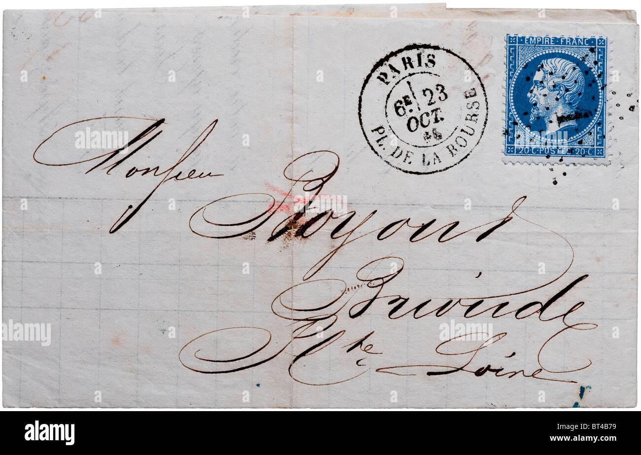 1866 French letter postmarked Place de la Bourse, Paris. - Stock Image