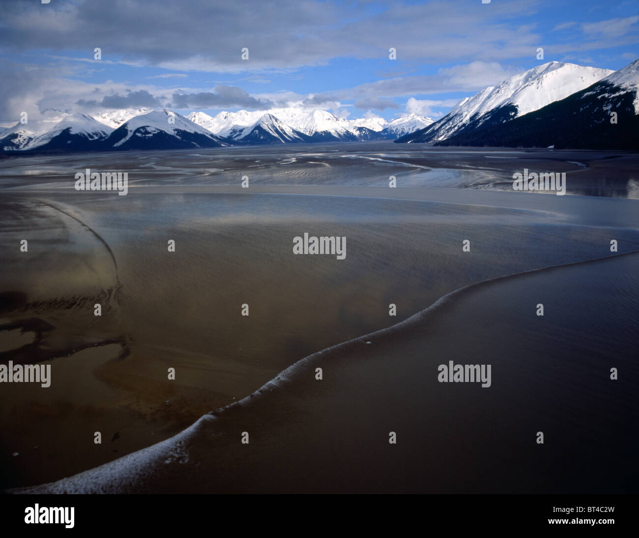 An aerial view of the Boretide as it advances through the Turnagain Arm. - Stock Image