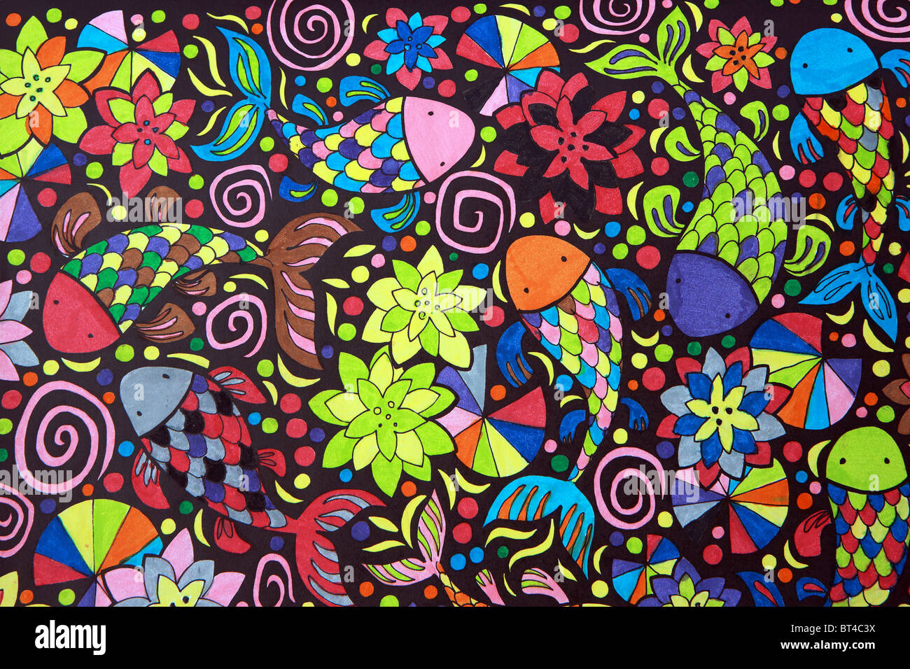 Psychedelic colouring in picture by children - Stock Image