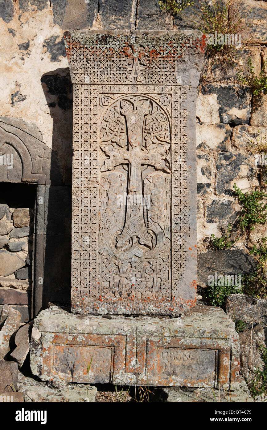 Armenian cross stone with Christ engraved on it - Stock Image