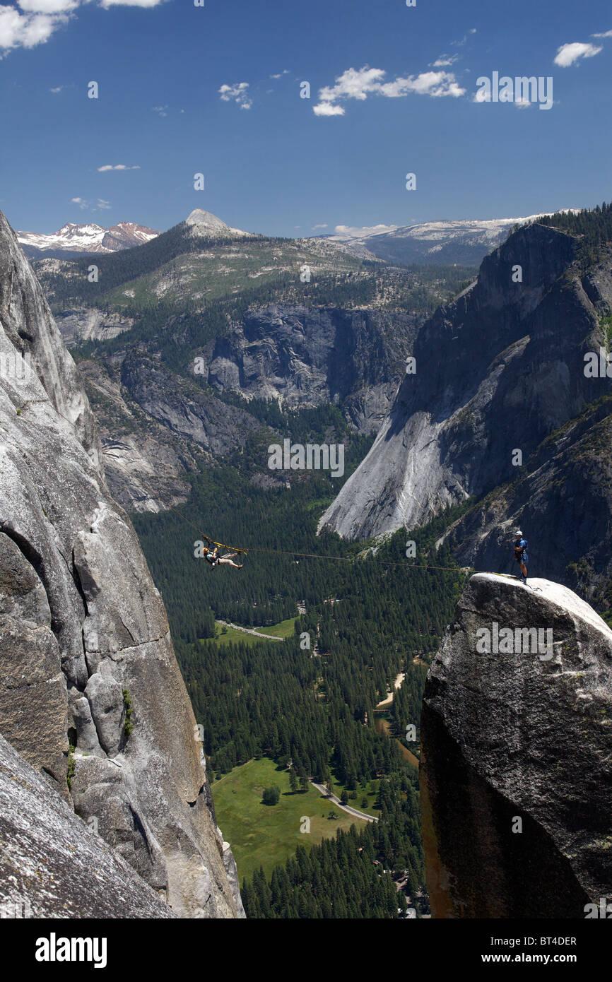 Lost Arrow Rock Climbers - Yosemite National Park, California. - Stock Image