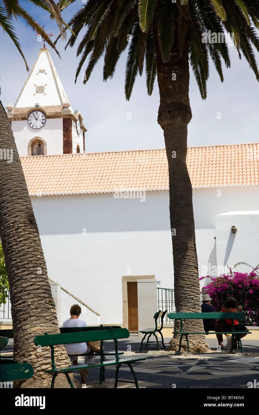 Village Square with Nossa Senhora Da Piedade behind - Porto santo - Stock Image