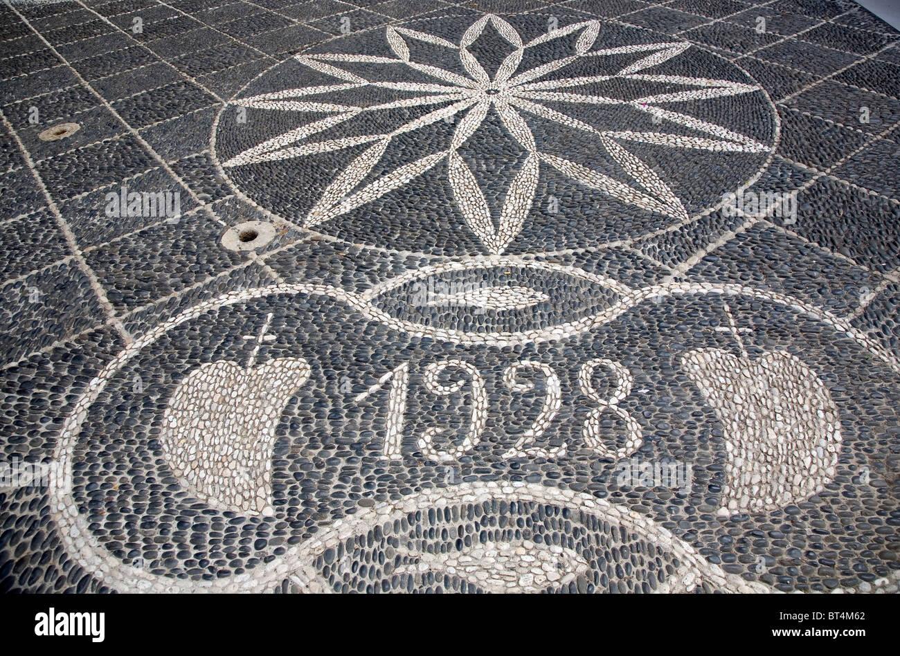 Cobbled stone mosaic at 'Nossa Senhora Da Piedade' Church grounds - Stock Image