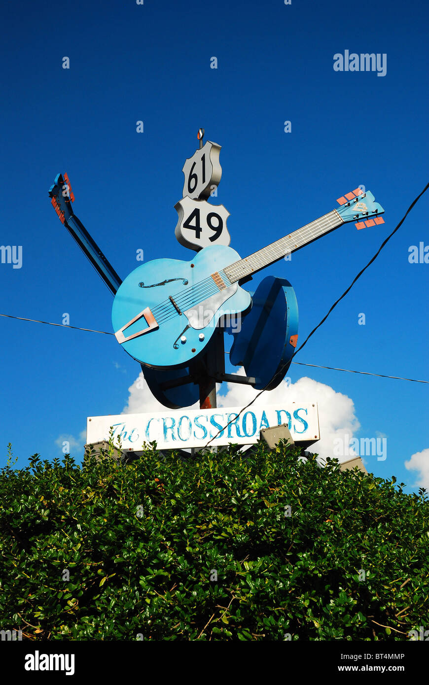Legendary Crossroads in Clarksdale Mississippi.  Legend said the devil will tune your guitar at midnight to learn - Stock Image