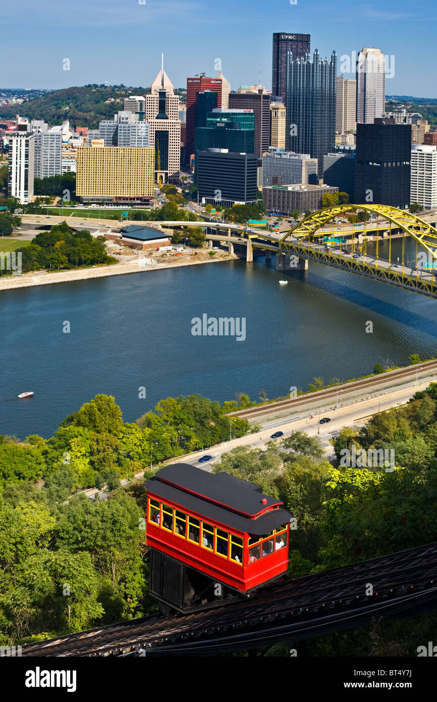 Duquesne Incline Pittsburgh skyline - Stock Image