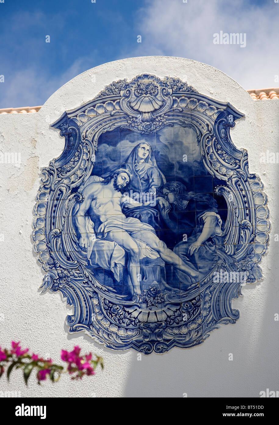 Nossa Senhora Da Piedade Church - azulejo - Porto Santo - Stock Image