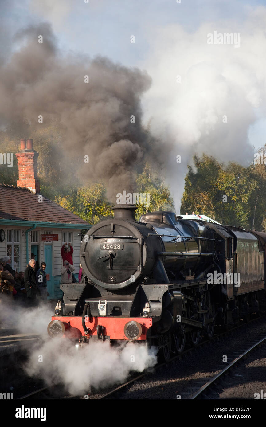 Grosmont station platform - LMS 5428 Class S15 Maunsell 4-6-0 freight train locomotive design Ex SR 825 (BR 30825). - Stock Image